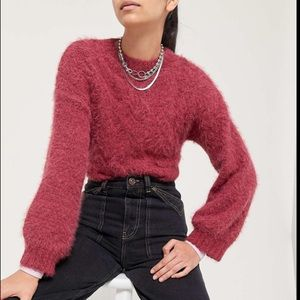 UO Lennox Fuzzy Cable Knit Cropped Sweater